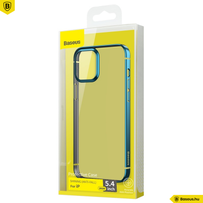 Baseus iPhone 12 Mini rugalmas gél tok, fényes fémes kerettel Shining - Kék