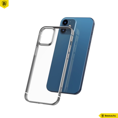 Baseus iPhone 12 Mini rugalmas gél tok, fényes fémes kerettel Shining - Ezüst