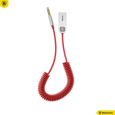 Baseus BA01 USB + vezeték nélküli audio adapter kábel 3,5mm jack bemenet - Piros