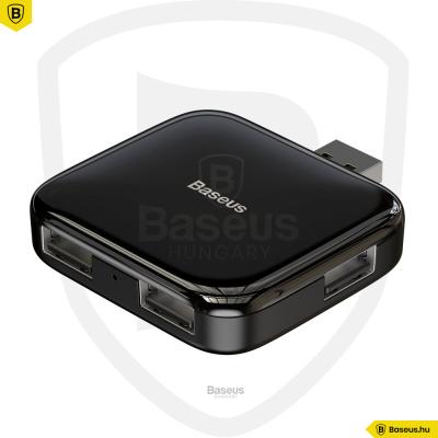 Baseus hordozható 4in1 USB adapter (MicroUsb – 4XUSB2.0 tápegységgel) - Fekete