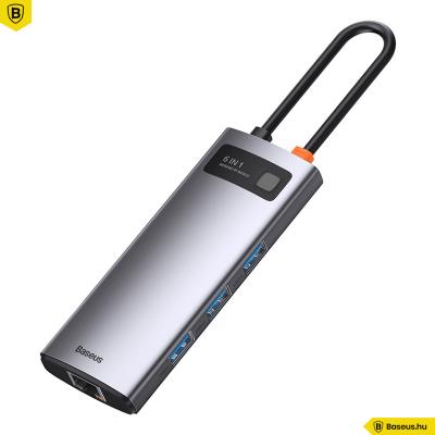 Baseus Hub 6in1 Metal Gleam Széria USB-C, 3x USB 3.0 + HDMI + USB-C PD + Ethernet RJ45