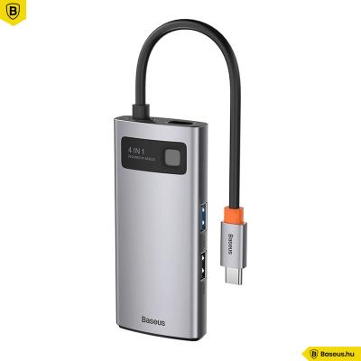 Baseus Hub 4in1 Metal Gleam sorozat, USB-C - USB 3.0 + USB 2.0 + HDMI + USB-C PD - szürke