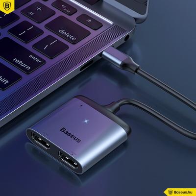 Baseus HUB átalakító adapter USB-C-ről 2xHDMI + USB-C PD-re - Szürke