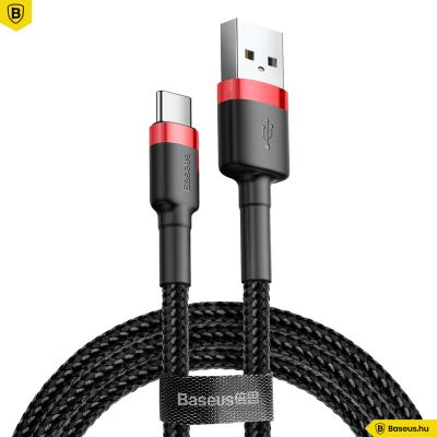 Baseus USB-C gyors adat, töltőkábel 2A - 2m - Fekete/Piros