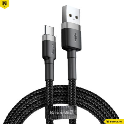 Baseus Cafule Type-C/USB-C/ adat/töltőkábel 3A 2M-es - Szürke/Fekete