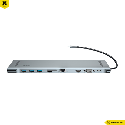 Baseus Enjoyment USB-C Notebook Hub 10 az 1-ben (PD+HDMi+VGA+RJ45+SD+3xUSB) - adapter
