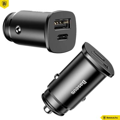 Baseus Square USB/USB-C autós töltő 30W PPS (PD3.0,QC4.0+,SCP,AFC) - Fekete