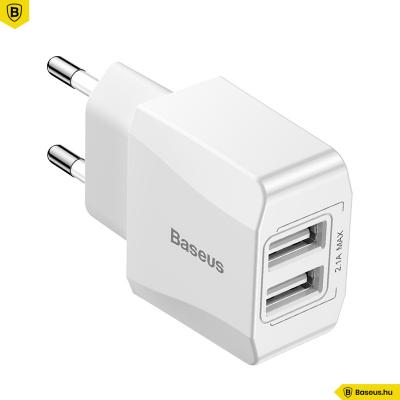 Baseus Mini 2xUSB hálózati töltő 2,1A - Fehér