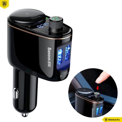 Baseus Locomotive Bluetooth - FM Transzmitter - MP3 lejátszó - 3.4A 2USB autós töltő - Fekete
