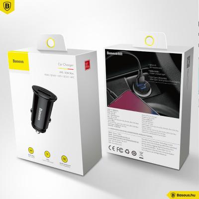 Baseus autós töltő USB/USB-C 30W Circular - Fekete