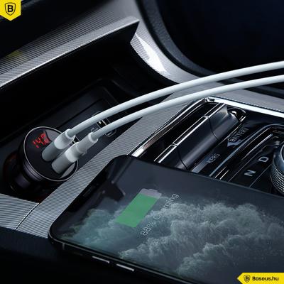Baseus autós töltő 2USB 4.8A 24W LCD kijelzővel - Ezüst