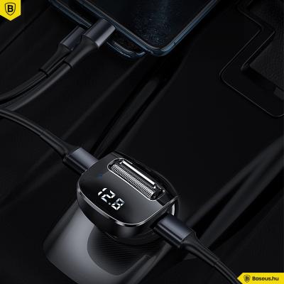 Baseus Streamer F40 Bluetooth - FM Transzmitter - 2USB autós töltő 15W 2A - Fekete