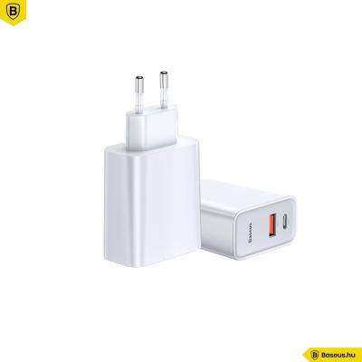 Baseus Speed PPS hálózati gyors töltő USB/USB-C QC3.0 30W - Fehér