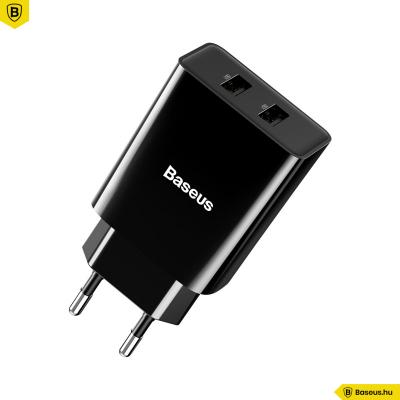 Baseus Speed Mini 2USB hálózati töltő 2.1A/10,5W - Fekete