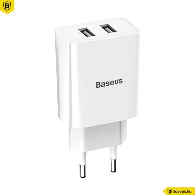 Baseus Speed Mini 2USB hálózati töltő 2.1A - Fehér
