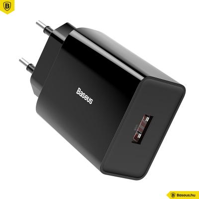Baseus Mini 1USB hálózati gyorstöltő QC 3.0 18W 3A - Fekete