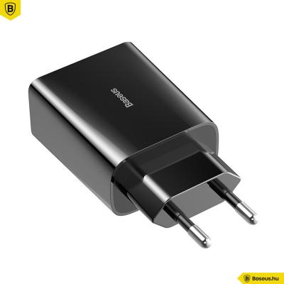 Baseus Mini USB-C PD hálózati gyorstöltő QC 3.0 18W 3A - Fekete