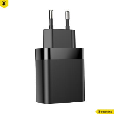 Baseus Mirror Lake hálózati töltő 2USB QC 3.0 18W kijelzős gyors töltő - Fekete