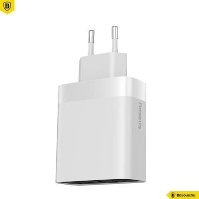 Baseus Mirror Lake 4USB hálózati töltő 30W/6A kijelzős - Fehér