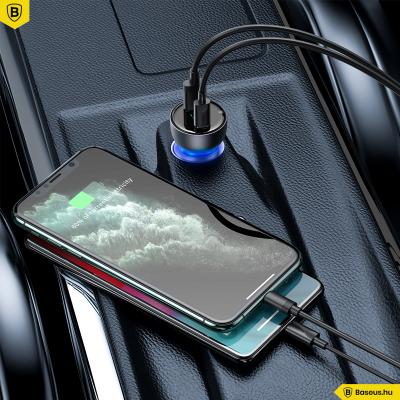 Baseus Particular autós töltő USB/USB-C 65W 5A SCP QC 4.0 + PD 3.0 LCD kijelzővel - Szürke