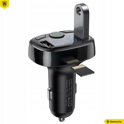 Baseus 4in1-ben T-Types Bluetooth - FM Transzmitter MP3 lejátszó - 3.4A autós töltő - Fekete
