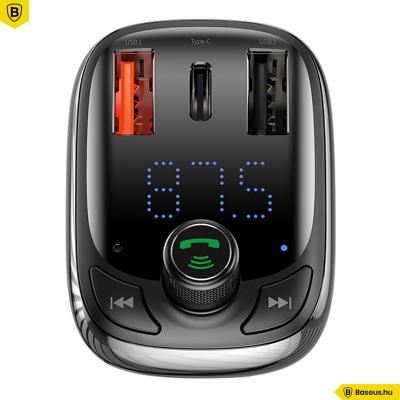 Baseus T typed FM Transmitter, MP3 lejátszó, Bluetooth kihangosító és 36W QC 4.0 töltő