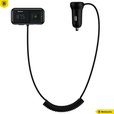 Baseus T Type S-16 vezeték nélküli Bluetooth MP3-lejátszó+2USB autós töltő - Fekete