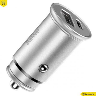Baseus USB/USB-C PPS gyors autós töltő 30W VOOC - Ezüst