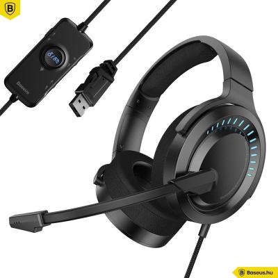 Baseus GAMO D05 3D PC Gamer vezetékes fejhallgató mikrofonnal - Fekete