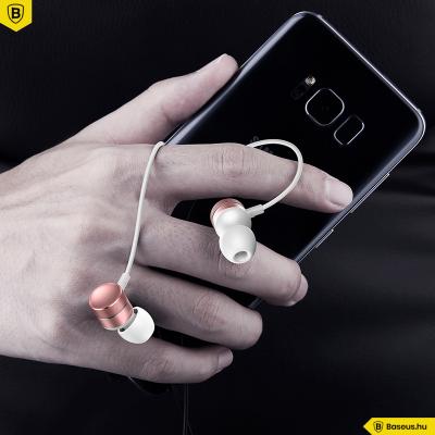 Baseus Encok H04 vezetékes fülhallgató/headset - Fehér-rosegold