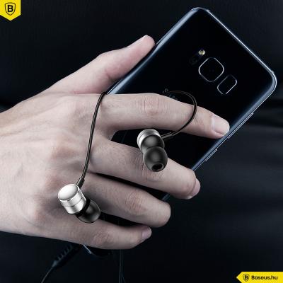 Baseus Encok H04 vezetékes fülhallgató/headset - Fekete-ezüst