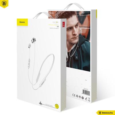 Baseus Encok S12 Bluetooth mágneses fülhallgató/headset - Fehér