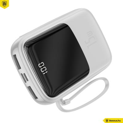 Baseus Q-Pow powerbank 10000 mAh gyorstöltéssel USB-C kábellel - Fehér