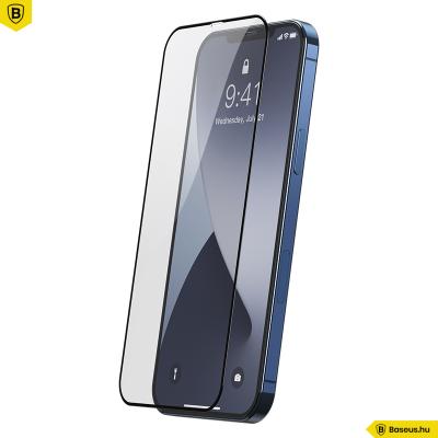 Baseus iPhone 12/12 Pro 0,25mm kijelzővédő üvegfólia (2db/cs.) - Fekete