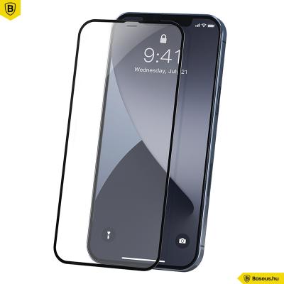 Baseus iPhone 12/12 Pro 0,23mm kijelzővédő üvegfólia (2db/cs.) - Fekete