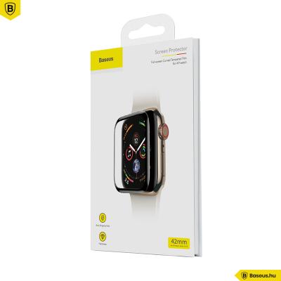 Baseus 42mm Apple Watch teljes képernyős kijelzővédő üveg - Fekete