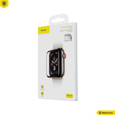Baseus 44mm Apple Watch 4-es 0,2mm vastag teljes képernyős üvegfólia - Fekete