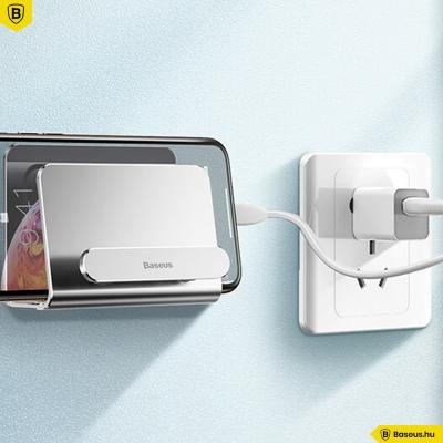 Baseus falra ragasztható telefontartó 2 készülékhez - Ezüst