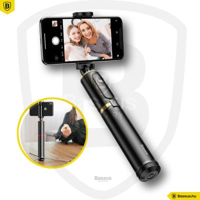 Baseus Fully bluetooth selfie bot csúszásgátló állvánnyal, távirányítóval - Fekete-arany