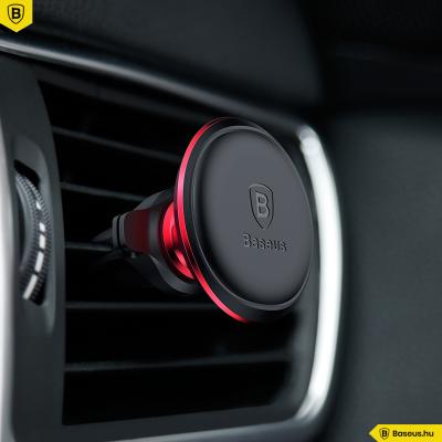 Baseus Air Vent univerzális mágneses autós telefontartó szellőzőrácsra - Fekete-piros
