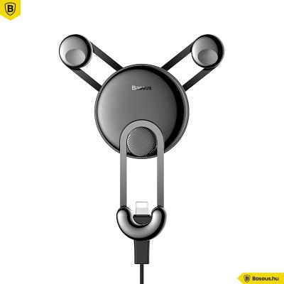 Baseus YY Gravity autós telefontartó szellőzőrácsra Lightning kábellel - Fekete