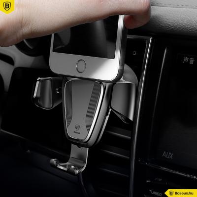 Baseus Gravity autós telefontartó szellőzőrácsra 65-88 mm-ig állítható - Fekete