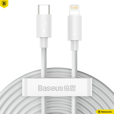 Baseus Simple Wisdom USB-C/Lightning adat/töltőkábel PD 20W 1,5m (2db/cs.) - Fehér