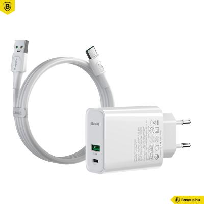 Baseus hálózati gyorstöltő USB/USB-C PPS QC4.0 30W VOOC - USB-C kábellel 1m 5A - Fehér
