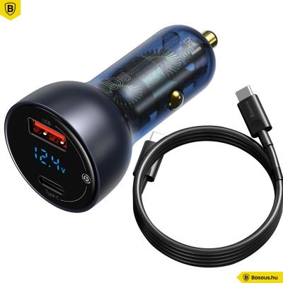 Baseus autós töltő USB/USB-C 65W 5A SCP QC 4.0 + PD 3.0 LCD kijelzővel és Type-C kábellel- Szürke