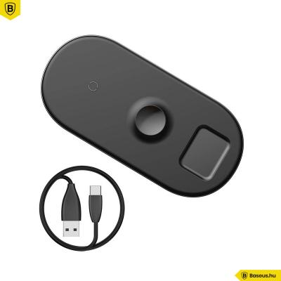 Baseus Smart 3in1 Apple Watch (1-5 ) - Telefon - Airpods Wireless vezeték nélküli töltő - Fekete