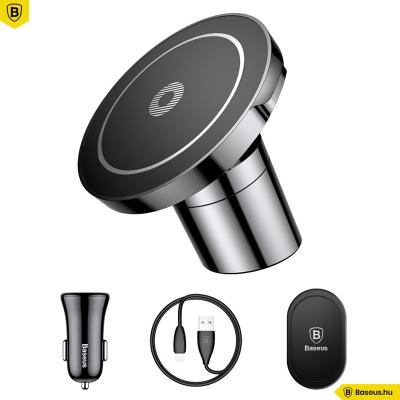 Baseus Big Ears mágneses Qi autós tartó és wirelesstöltő 2in1-ben - Fekete