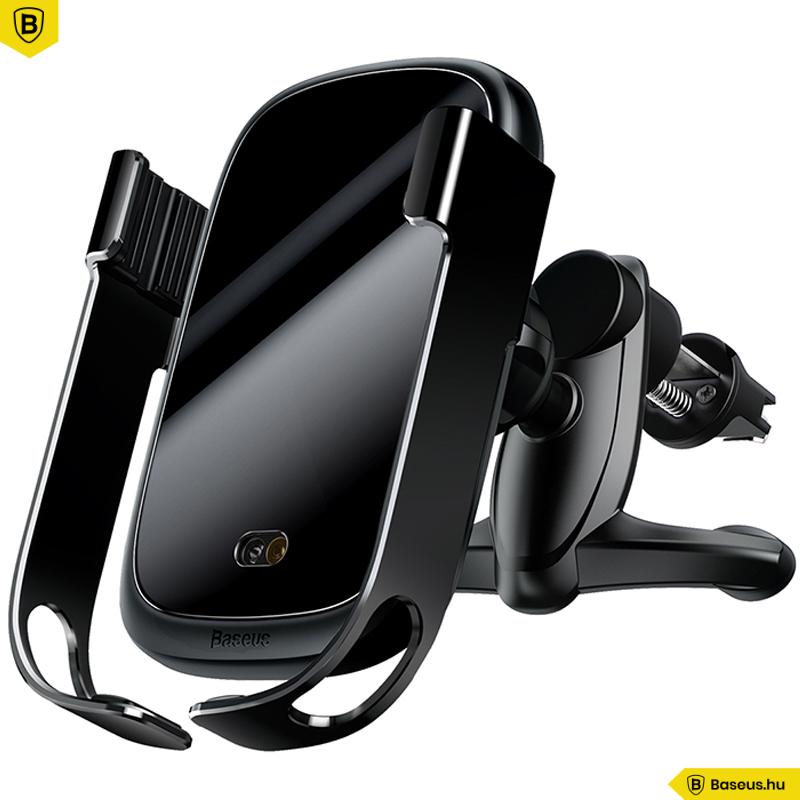 Baseus Rock-Solid automata telefon tartó és vezeték nélküli töltő - fekete