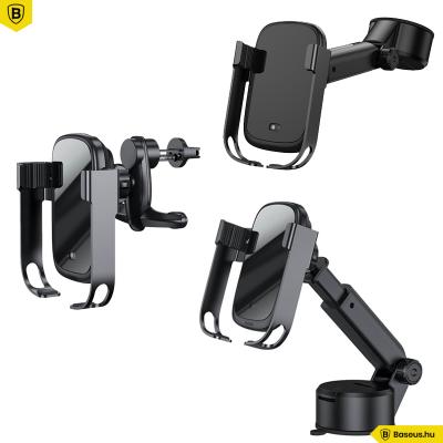 Baseus Rock-Solid 5in1(10W) automata telefontartó és vezeték nélküli töltő szellőzőre-szélvédőre-műszerfalra - Fekete