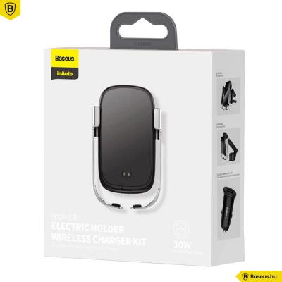Baseus Rock-Solid 5in1(10W) automata telefontartó és vezeték nélküli töltő szellőzőre-szélvédőre-műszerfalra- Ezüst